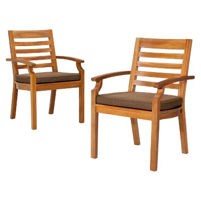 Smith & Hawken® Brooks Island 2-Piece Wood Patio Arm Dining Chair Set