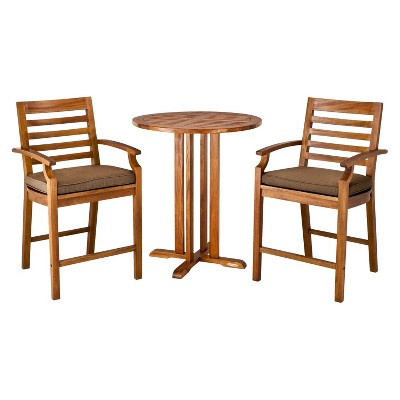 ECOM Smith & Hawken� Brooks Island 3-Piece Wood Patio Bar Height Bistro Furniture Set - Espresso