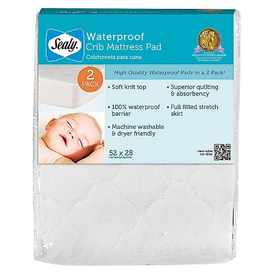 Sealy Waterproof Crib Mattress Pad - 2 Pack
