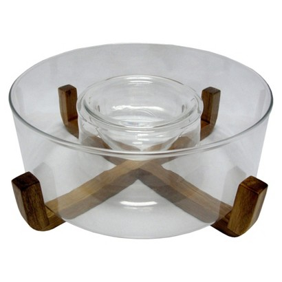 Threshold Chip and Dip Bowl with Acacia Rack