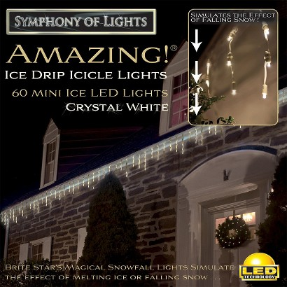 60ct Pure White LED Ice Drip Light Show String Lights
