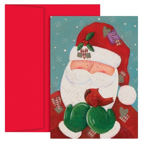 Santa with Cardinal Holiday Card Set