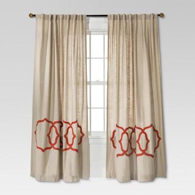 "Threshold™ Fretwork Border Curtain Panel - Tan/Coral (54x95"")"