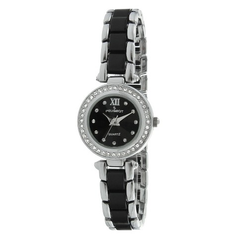 Peugeot Women's Acrylic Link Crystal Accented Watch - Silver/Black