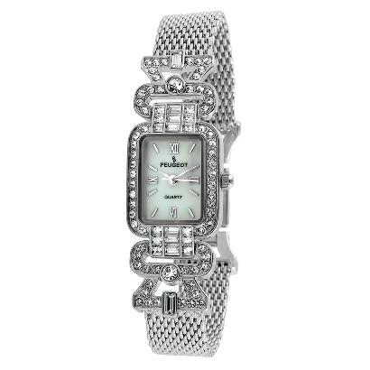 Peugeot Women's Crystal Bezel Mesh Bracelet Watch - Silver