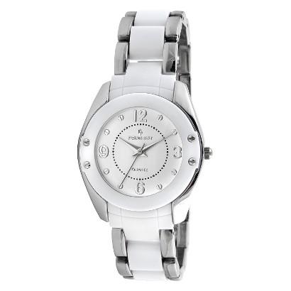 Peugeot Women's Acrylic Link White Watch - Silver