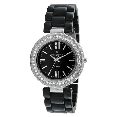 Peugeot Women's Crystal Bezel Acrylic Watch - Silver/Black