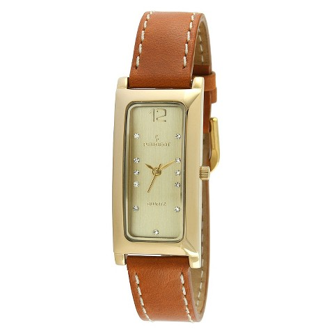 Peugeot Women's Rectangle Crystal Marker Leather Strap Watch - Gold/Tan