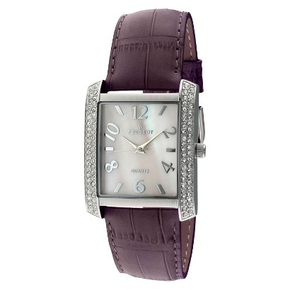 Peugeot Women's Square Crystal Bezel Leather Strap Watch - Silver