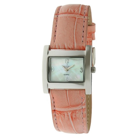 Peugeot Women's Silver-Tone Case Leather Mother-Of-Pearl Dial Watch - Pink