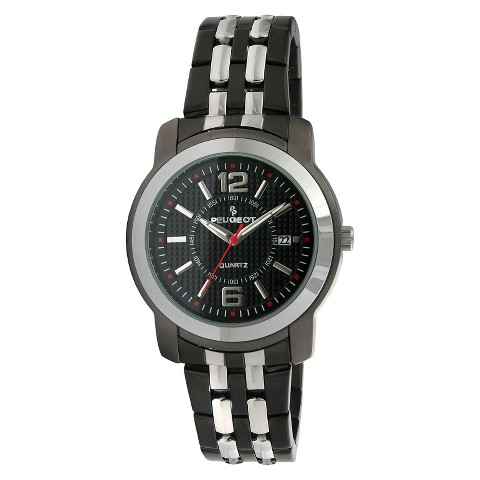 Peugeot Men's Bracelet Watch - Silver/Black