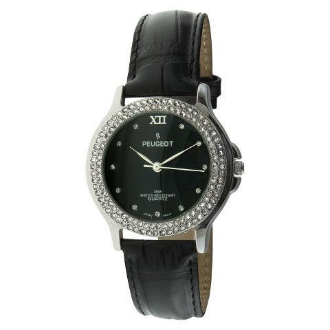 Peugeot Leather Crystal Watch - Black