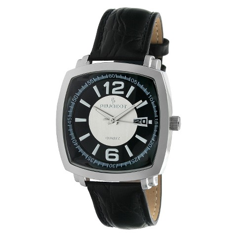 Peugeot Men's Leather Strap Watch - Silver & Black