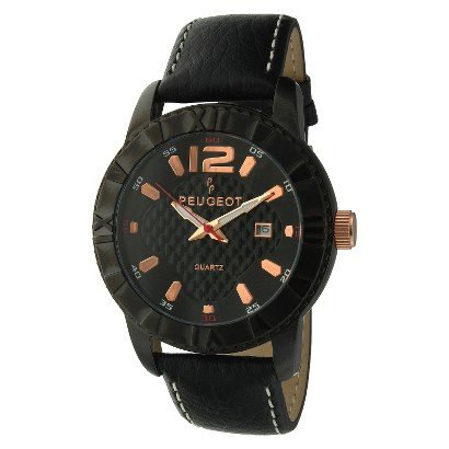 Peugeot Men's Leather Sport Bezel Watch - Black