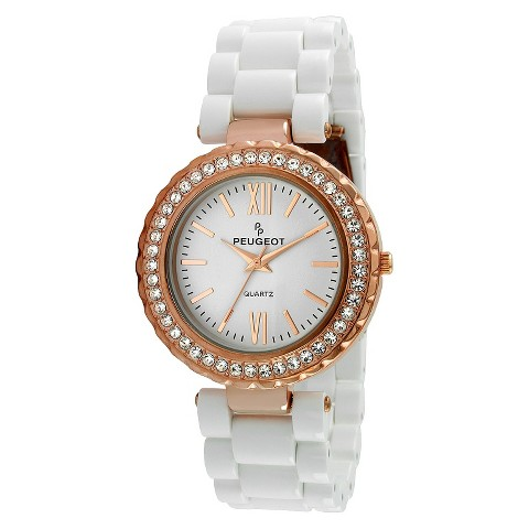 Peugeot Women's Crystal Bezel Acrylic Watch - Rose Gold/White