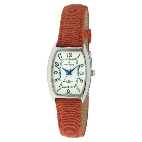 Peugeot Women's Nylon Embossed Leather Watch - Orange
