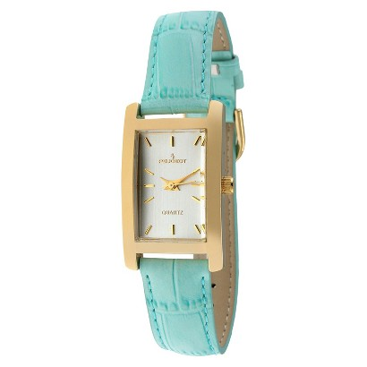 Peugeot Women's Leather Strap Watch - Gold/Turquoise