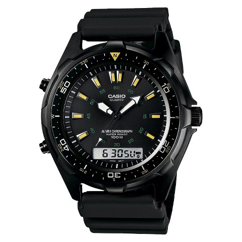 Casio Men's Analog-Digital Watch with Yellow Accents - Black - AMW360B-1A1