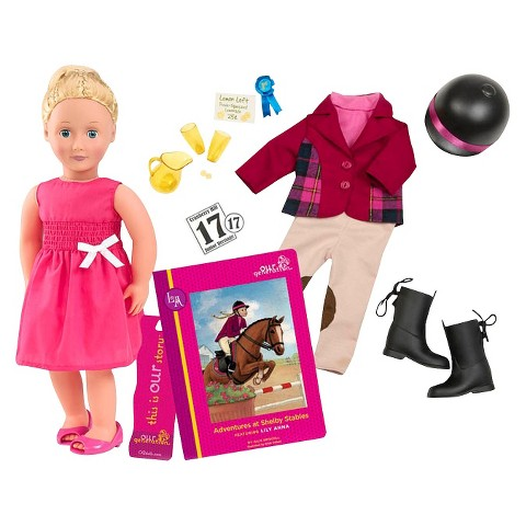 "Our Generation 18"" Poseable Doll With Book - Lily Anna And Shelby"