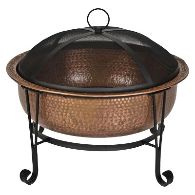Contemporary Round Fire Pit - Copper