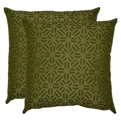 Threshold™ 2-Piece Outdoor Decorative Throw Pillow Set - Green Geometric