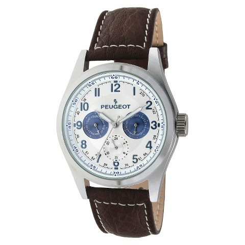Peugeot Men's Multi-Function Leather Strap Watch - Brown