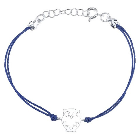 Sterling Silver Owl With  Blue Cotton Cord Bracelet