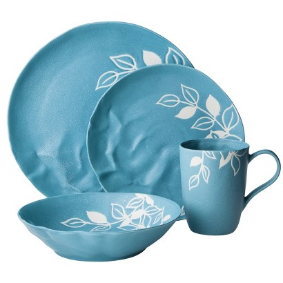 Blueprint 16 Piece Matte Floral Pattern Dinnerware Set - Blue