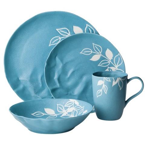 Blueprint 16 Piece Matte Floral Pattern Dinnerware Set - Blue