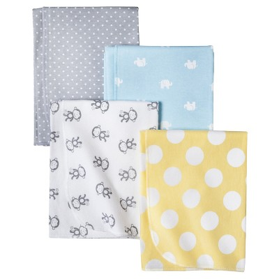 Circo® 4pk Flannel Receiving Blankets - Zigs 'n Zags