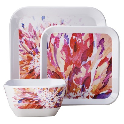 Room Essentials™ 12 Piece Floral Square Dinnerware Set - Red