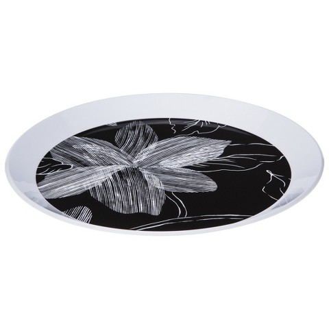 Room Essentials™ Floral Round Platter - Black/White