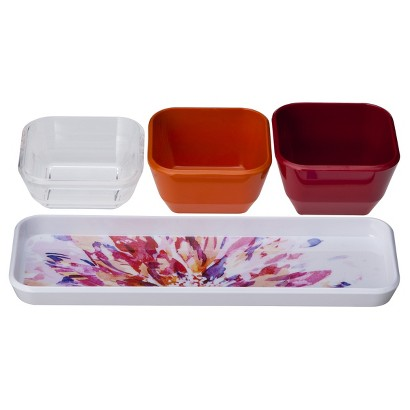 Room Essentials™ Floral Warm Dip Bowl with Tray Set of 4 - White/Red
