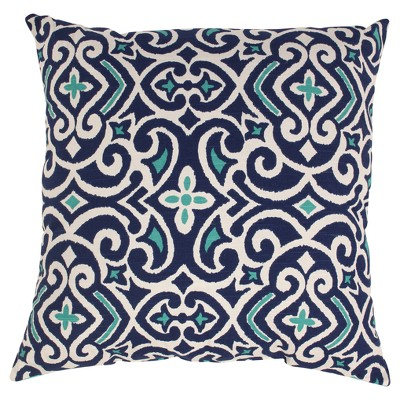"Damask Square Toss Pillow - Blue/White (18x18"")"