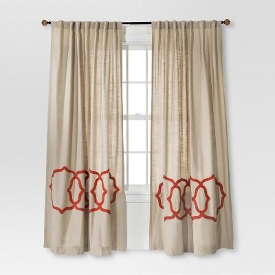 "Threshold™ Fretwork Border Curtain Panel - Tan/Coral (54x84"")"