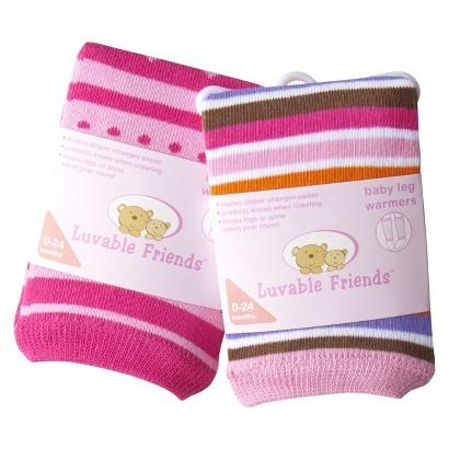 Luvable Friends Infant Girls' 2 Pack Stripe Leg Warmers - Pink 0-24 M