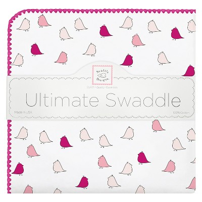 SwaddleDesigns® Ultimate Receiving Blanket - Little Chickies - Very Berry
