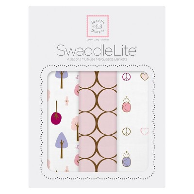 SwaddleDesigns® SwaddleLite® 3pk Blanket - Cute and Calm - Pastel Pink