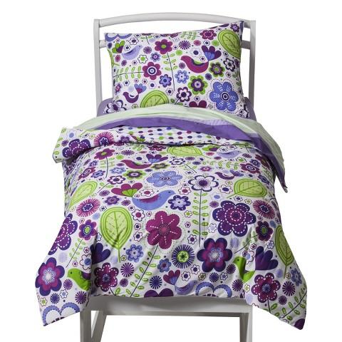 Bacati Botanical Purple 4pc Tddlr Set