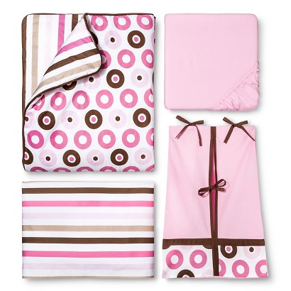 Pink Mod Dots & Stripes 10pc Crib Bedding Set ( w/out Bumper) by Bacati