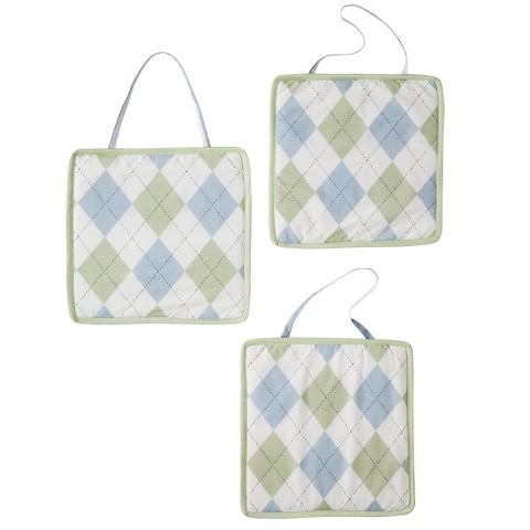 Sweet Jojo Designs Argyle Wall Hanging Set - Green and Blue