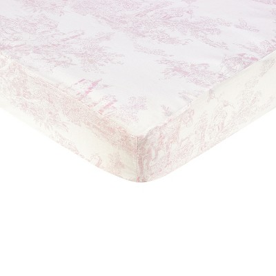 Sweet Jojo Designs Toile Print Fitted Crib Sheet - Pink
