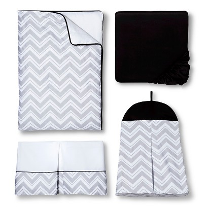 Sweet Jojo Designs 11pc Zig Zag Crib Set - Gray