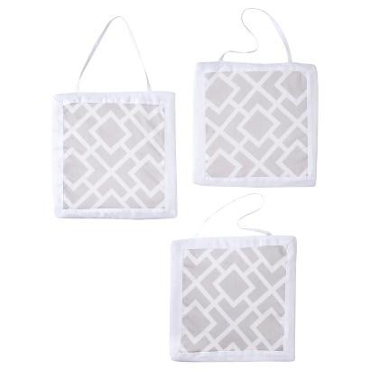 Sweet Jojo Designs Diamond Wall Hanging  Set - Gray and White