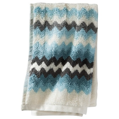 Threshold Watercolor Chevron Hand Towel - Blue/ Gray