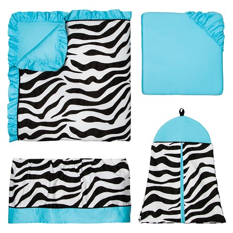 Sweet Jojo Designs 11pc Zebra Crib Set - Turquoise