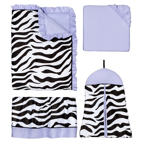 Sweet Jojo Designs 11pc Zebra Crib Set - Purple