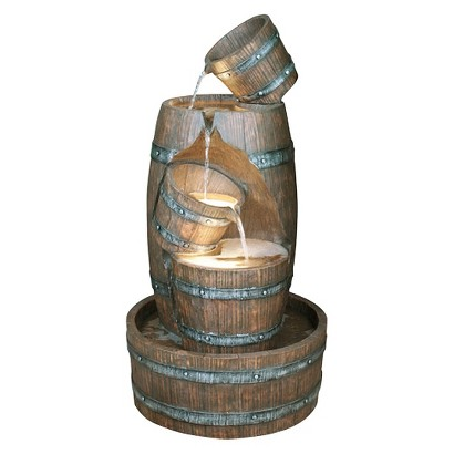 "38.5"" Barrel Indoor/Outdoor Fountain - Brown"