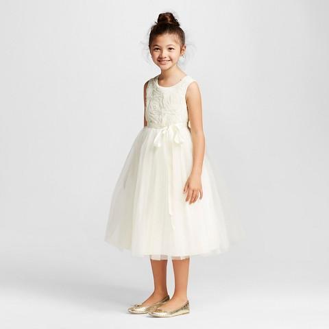 Girls' Rosette Ballerina Flower Girl Dress - Ivory