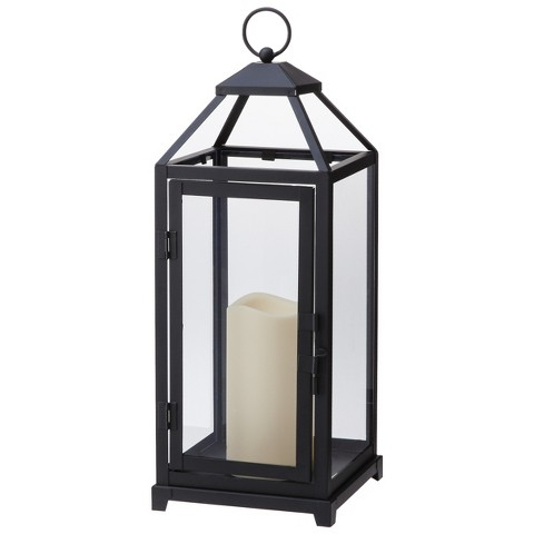 Decorative Lantern with LED Candle - Black product